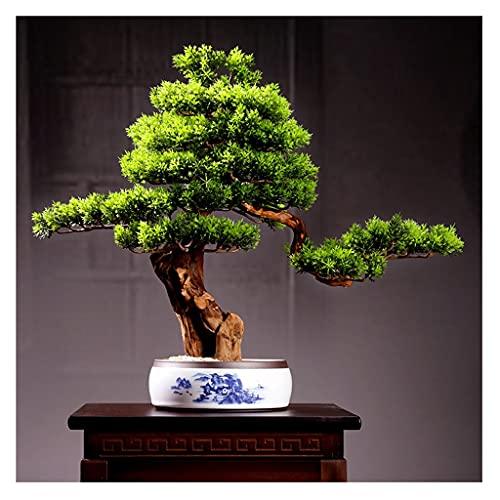 Árbol bonsai artificial Árbol artificial Bonsai Ceramic Flowerpot Paisaje Paisaje de la arena dorada Hojas realistas Hojas Fake Tree para sala de estar y decoración de escritorio de oficina Artificial