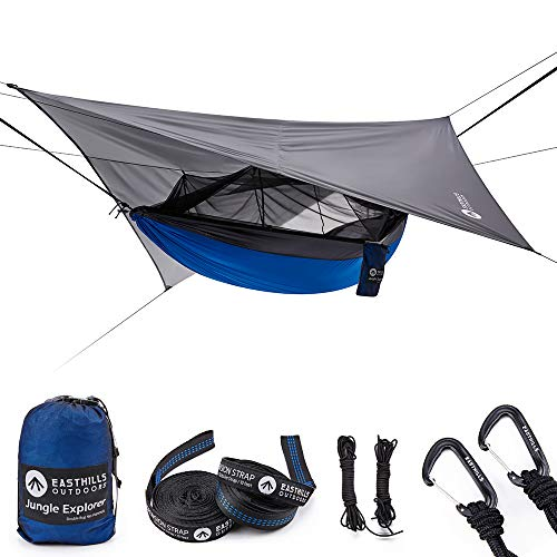 Easthills Outdoors Jungle Explorer Double Bug Net Camping Hammock Ripstop Parachute Nylon Camping & Outdoor Hammocks Tent with Waterproof Rainfly Tarp Blue