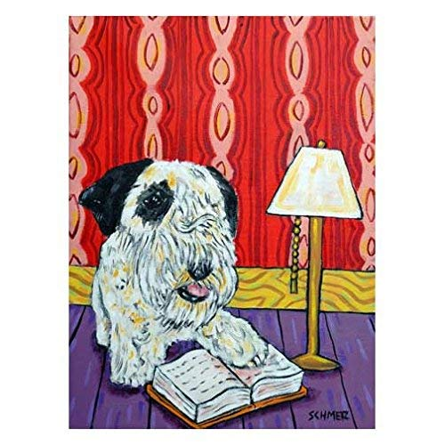 Sealyham Terrier reading at the Library dog art Max 43% OFF decor Ranking TOP18 Pri signed