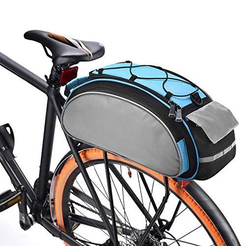 BAIGIO Borsa Bici Posteriore Cremagliera Multifunzionale Pacchetto Zaino Borsa da Bicicletta MTB Borsa Portapacchi Bici con Tracolla & Striscia Riflettente,13L (Blu)