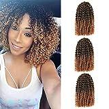 3 Bundles 8 Inch Short Marlybob Crochet Hair Curly Crochet Braids Hair Afro Kinky Curly Synthetic Hair Extensions (8 inch, 1B/27 3 Bundles Marlybob)