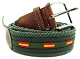 Pi2010 Cinturón verde con banderas de España, terminaciones en piel, medida 115cm