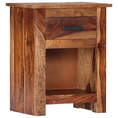 Festnight- Nachttisch mit 1 Schublade und 1 Ablagefach Nachtkommode Beistelltisch Nachtschrank Sofatisch Nachtschrank 40×30×50 cm Massivholz Sheesham