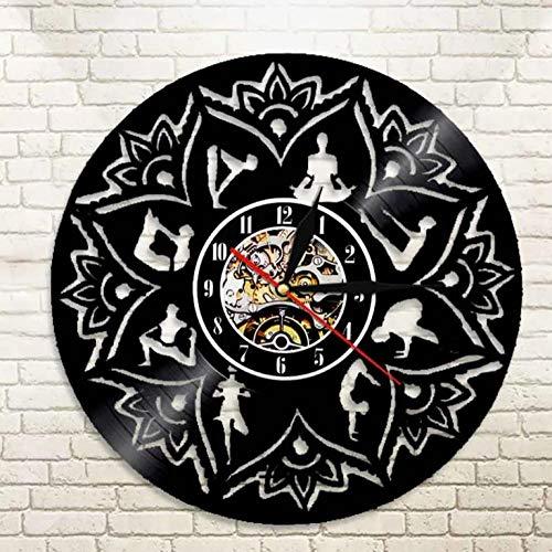 Liushenmeng Vinilo Reloj de Pared La semilla del Loto de la Vida Discos de Vinilo Reloj de Pared Reloj de Vinilo Vintage Relojes de Pared Decoración para el hogar Hechas a Mano Art diámetro 30cm
