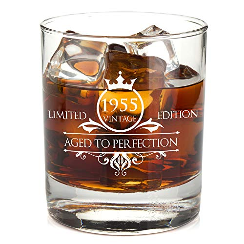 Image of the 1955 65th Birthday Whiskey Glass for Men and Women - Vintage Aged To Perfection - Anniversary Gift Idea for Him, Her, Husband or Wife - Presents for Mom, Dad - 11 oz Bourbon Scotch Tumbler