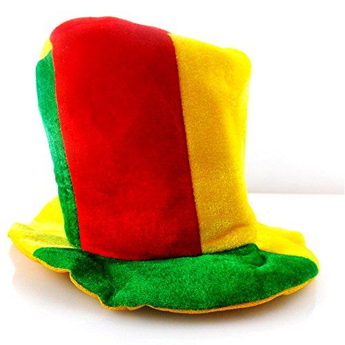 Funny Fashion Chapeau Haut de Forme Rouge/Jaune/Vert