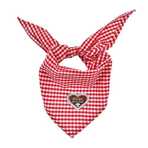 BONDI Halstuch Dreieckstuch Ich hab dich lieb 86446 | Rot/Weiß - Accessoire Trachtentuch Baby Kleinkind Karomuster