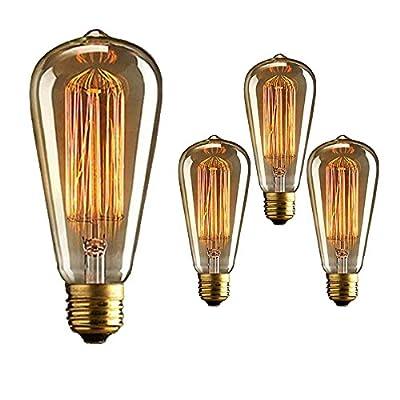 Vintage Edison Bulb 40W 110V E26 Base Squirrel Cage Tungsten Filament Incandescent Light Bulb, Warm Light Dimmable