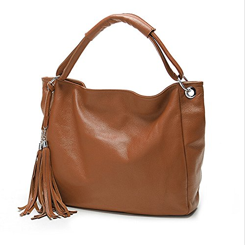BYD - Donna Female Borse a mano Colore puro High Quality PU Leather Mutil Function Fashion School Bag Work Office Bag Borse Tote Bag Fringe