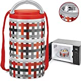 MILTON Insulated Lunch Bento Box Microwave Safe Stainless Steel thermos for Kids/Adults Thermal Food Jar With Shoulder Strap for Men Women 3 Compartment Meal Prep Containers - Red Checkers