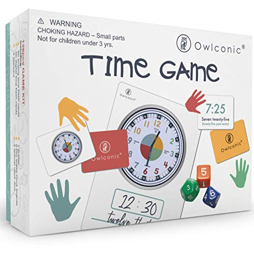 OWLCONIC Learning Time Game - A Great 128 Piece Teaching Aid to Help Kids Learn Analog and Digital Time. an Educational Resource Toy for Children, Homeschool, Classroom & Teachers