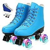 OuYee Patines unisex clásicos de poliuretano para patinaje artístico sobre hielo, cuatro patines, doble roca, para mujer (azul flash, 43)