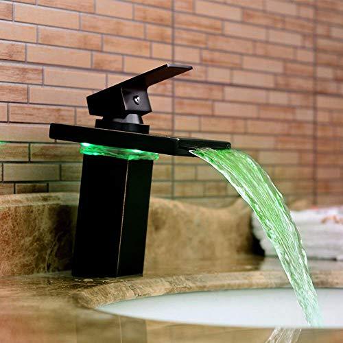 Fácil de Instalar Grifo de baño Cascada de Cobre Juego de Grifo de Contacto Antiguo Retro Moderno Negro Led Color Luminoso Lavabo de baño Grifo de Agua fría y Caliente
