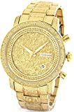 JOJINO 1.05ct Real Diamond Watch Mens Deluxe Gold Tone Case Diamond Band MJ-1000B