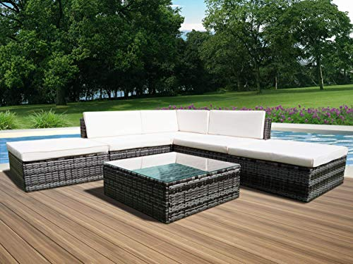 Panana Rattan Outdoor Garden Furniture Set 5-Seater Corner Sofa Set Table and Chairs Conservatory Patio Dark Mixed Grey with Cream Cushions