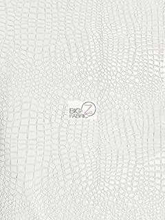 Big Z Fabric Vinyl Faux Fake Leather Pleather Embossed Shiny Alligator Fabric by The Yard DIY Upholstery Accessories (White)