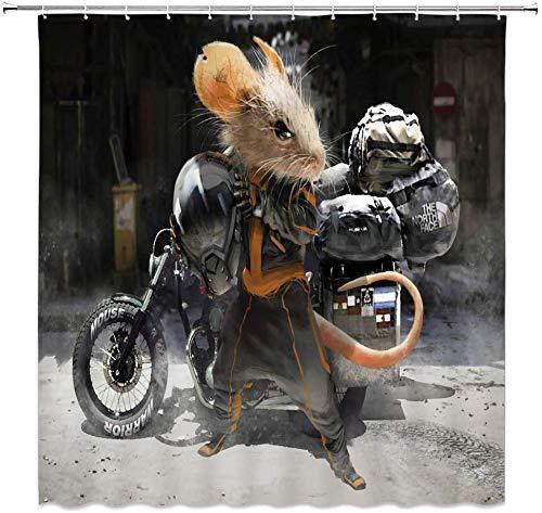 MMPTn Tier-Duschvorhang, Auto-Maus, lustiges Cartoon-Design, kühles Schwarz, wasserdichtes Material, inkl. 12 Kunststoff-Haken, 180,9 x 182,3 cm