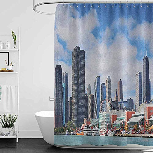 hengshu Chicago Skyline Professional Shower Curtain Cloudy Sky on City Contemporary Downtown States Country Office Panorama Decorative Bathroom Curtains W63 x L72 Inch Multicolor