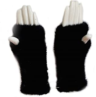 Womens Winter Mittens Knitted Mink Fur Gloves Fingerless Arm Warmers Cold Weather Elasticity