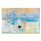 Fajerminart Impression sur Toile - Célèbres Peintures à l'huile Replica Monet Sunrise Peinture,Tableau Wall Art Impression...