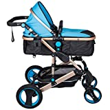 Llaona 3 en 1 Cochecito de Bebé Color Azul Carrito Bebé Silla de Paseo 85x37x64cm con Carro Multiuso