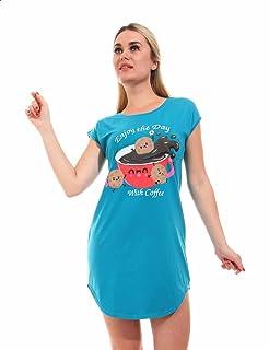 قميص نوم برقبة دائرية واكمام قصيرة وطبعة شكل كوكيز وقهوة للنساء من اندورا