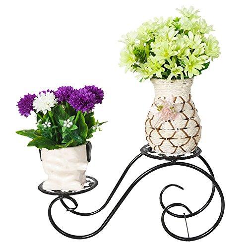 QFF Faisceau de fleurs à plusieurs étages en bois de style européen / table de bureau plantation de fleurs en bois / salon balcon étagère à fleurs ( Couleur : Noir )