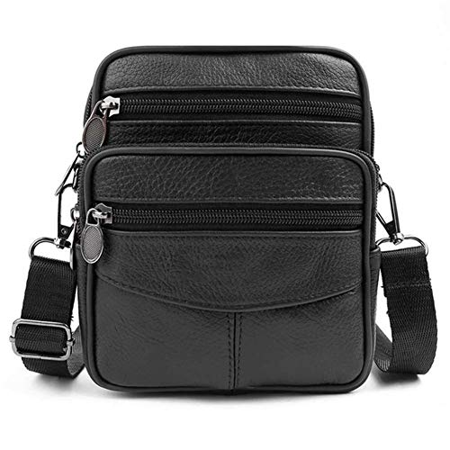 T-ara The New Mens Leather Little Messenger Bag Satchels Multifunctional Crossbody Shoulder Bag Actual Leather Crossbody Bags Dropshipping Essential for hiking (Color : Black, Size : XL)