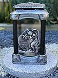 Grablampe mit Granitsockel Handmade NEU Herz - Engel Motiv mit Beschriftung Grablicht Grabkerze...