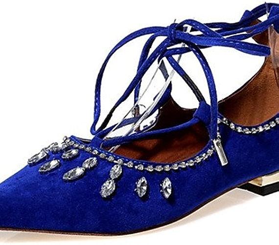DFGBDFG PDX Chaussures pour femme en velours Talon Plat Mary Bout Pointu appartements fête & Soir robe décontracté Noir bleu rouge