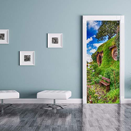 CUUDBP 3D Etiqueta De La Puerta, Paisaje De Colinas De Casas Verdes Impermeable Extraíble Pegatinas De Pared Pintura Mural Autoadhesivos Papel Tapiz Para Puertas Interiores Dormitorio Decoracion 77X20