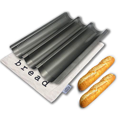 IVMA Kitchen baguette baking pan 15quot X 11quot 3 slot | Comes with a stylish raw cotton bag | Nonstick perforated bread loaf pan | French sourdough bread tray | loaves baking rack mold pan