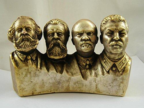soviética ruso Comunista partido LIDERS Lenin y Stalin y Marx y Engels Busto Estatua H = 11cm