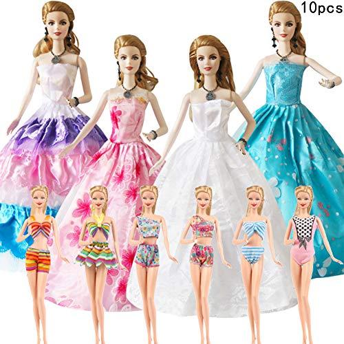 WENTS Abito Vestito Grande di Sposa Costume da Bagno ,Moda Premium Fatto a Mano Morbido Matrimonio Abiti Vestiti per La Festa per 11.5 Pollici / 28 - 30 CM Bambola per Regalo 10 PCS