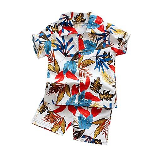 Xmiral Kleinkind Jungen 2er Outfits Kurzarm Hemd Shorts Baby Kinder Cartoon-Druck Kleidung Set Lässige Unisex Sommer Beachwear Gentleman Anzug(I Weiß,2-3 Jahre)