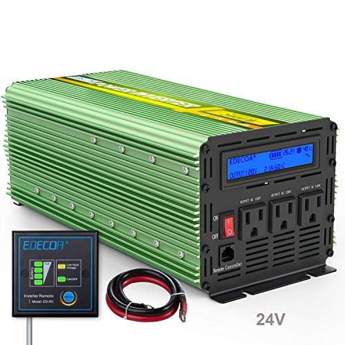 EDECOA 24V Pure Sine Wave Power Inverter 2000W DC 24V to 120V 110V with LCD Display Remote Controller