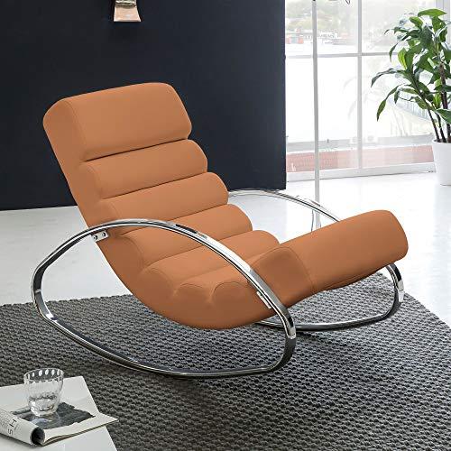 Wohnling Relaxliege Sessel Kunstleder Fernsehsessel Farbe braun Relaxsessel Design Schaukelstuhl Wippstuhl modern Metallrahmen Wohnzimmer Armlehnen
