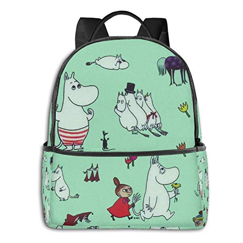 Green Moomin Characters Multifunctional Backpack, Student Backpack, Computer Bag, Travel Backpack, Leisure Bag For Men And Women