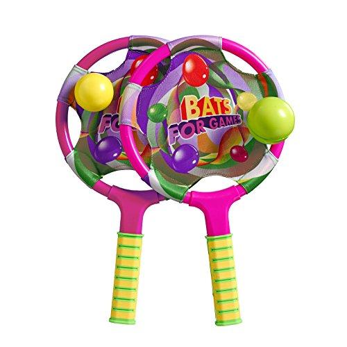 Best Sporting Strandspiel bestehend aus Zwei Schlägern und Zwei Bällen, pink oder blau, Farbe:pink