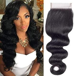 QTHAIR 12A Brazilian Body Wave Human Hair 4x4 Lace Closure(10inch,Free Part,1.23oz,Natural Black) Top Swiss Lace Brazilian Virgin Human Hair Body Wave Lace Closure