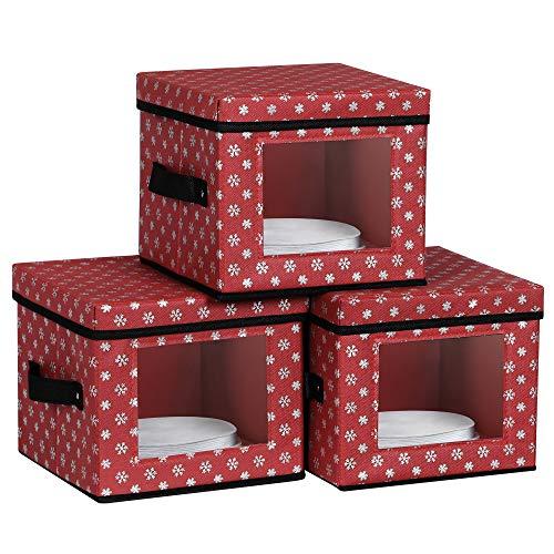 SONGMICS Cajas de Almacenamiento de Platos, Juego de 3 Cajas de Vajillas Plegables, Navidad, Fiesta de Navidad, Patrón de Copos de Nieve, Rojo RFB029R02