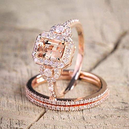 Lzz Fashion Lady 18K Rose Gold Filled Morgan Stone Ring Three-in-One Square Cut Cubic Zirconia Ring Wedding Jewelry Set Size 6-10 (US Code 8)