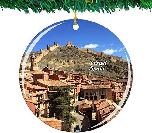 Bernice Winifred Adorno navideño de España Teruel colección de Recuerdos de Viaje de la Ciudad Porcelana de Doble Cara decoración de árbol Colgante de 2,85 Pulgadas