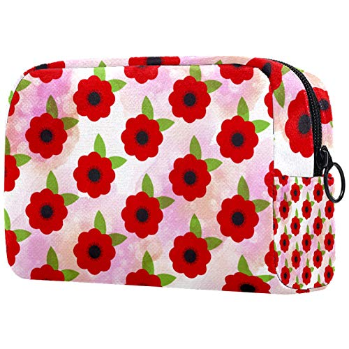 Travel Toiletry Bag, Waterproof Travel Bags, Toiletry Bag for Women and Girls,Red Poppy Flowers Floral Pattern