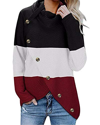 Reooly Moda Mujer otoño e Invierno Costura de Cuello Alto botón Camisa de Manga Larga Jersey Camisa suéter cálido