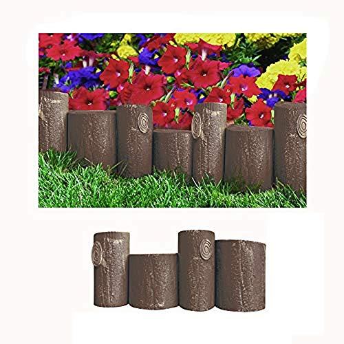 Comercial Candela Valla para Jardín Plástico PVC Imitación Tronco de Arbol para Decoración y Proteger los Bordes del Césped, Patio o Jardineras en Tierra 5 Unidades