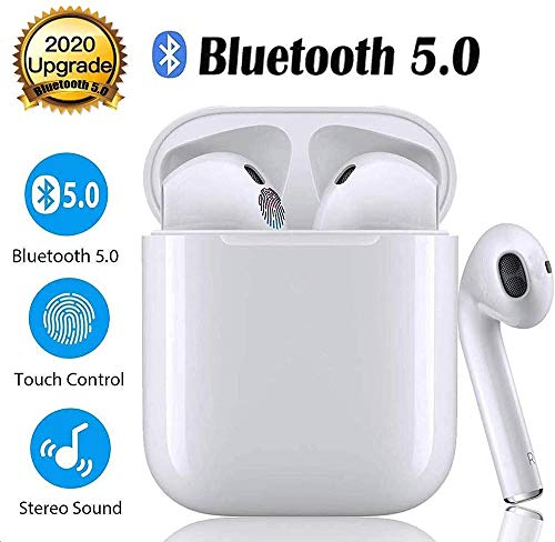 Bluetooth 5.0 Earphones TWS i12 Earbuds Smart Touch Control Wireless Headphones 3D Stereo Sound Headsets for Music with IPX7 Waterproof and Pop-Up Connection Auto Pairing Headsets