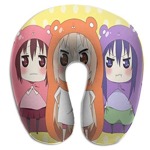 Hdadwy Anime Himouto Umaru Chan Almohadas en forma de U Almohada portátil de viaje para el cuello, suaves almohadas para exteriores Almohadas transpirables y cómodas de espuma viscoelástica, para sopo
