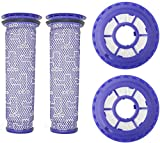 Wolfish Filter Replacement for Dyson DC65 DC66 DC41 Animal, Multi Floor and Ball Vacuums, Replaces Part 920769-01 & 920640-01, 2 HEPA Filter and 2 Pre Filter (4)