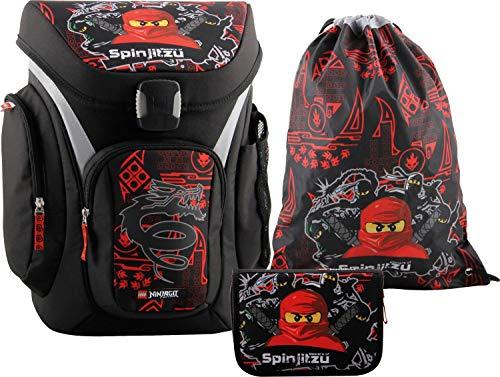 LEGO Bags Lego Bags Schooltassenset Explorer, 3-delig, rugzakken slechts 1,13 kg, schoolset met Lego Ninjago motief schooltas, 41 cm, Team Ninja (rood) - 400806552